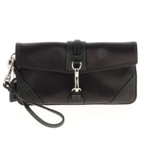 NEW AUTH COACH Black Leather Clutch/Wristlet